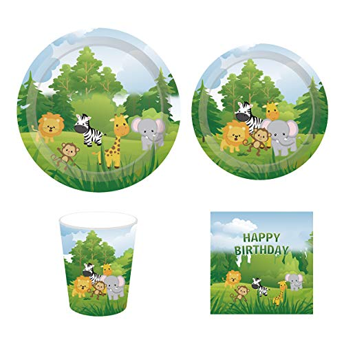 Cieovo Jungle Safari Animal Friends Birthday Party Supplies Pack for 16 Guests Including Lunch Dinner Plates, Dessert Plates, Lunch Napkins, Cups for Baby Shower Jungle Theme birthday Animal Party