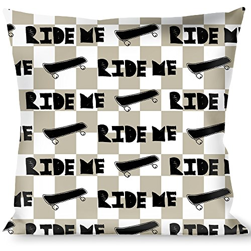 Buckle-Down Throw Pillow-Ride ME Skateboard w/Mini Checker White/Gray/Black, Ride Me Quote (Buckle Skateboard)