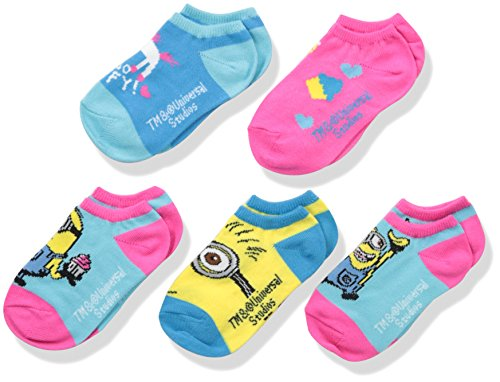 Despicable Me Girls' Toddler Dm 5pk No Show, Assorted Bright Minion Fits Sock Size 5-6.5; Fits Shoe Size -