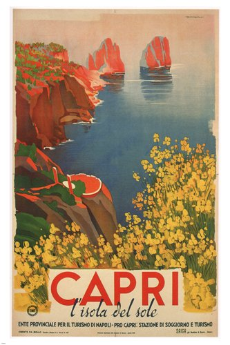 capri BY GIUSEPPE RICCOBALDI vintage ad poster ITALY 1948 24X36 first RATE ()