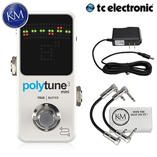 TC Electronic Polytune 3 Mini Tuner + (2) Patch Cables + 9V Power Supply + K&M Cloth Bundle
