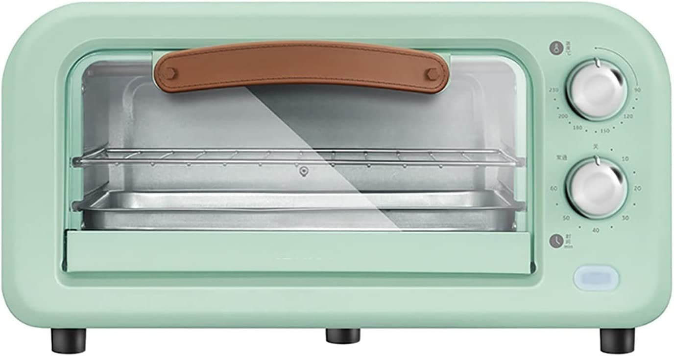 Multi-Function Vintage Countertop Toaster Oven, Retro Convection Oven with Rack, Baking Pan, Smart 800W Microwave Oven, Adjustable Temperature Control, 60-Minute Timer(green)