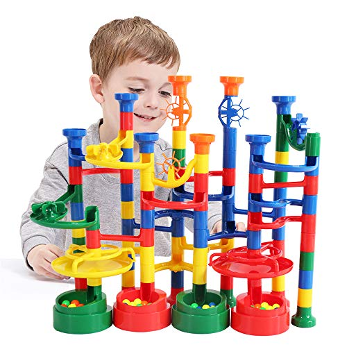 BMAG Marble Run Set for Kids, Marble Race Track , Marble Maze Game Toys, STEM Construction Building Set 112PCS (Game Kids Marble)