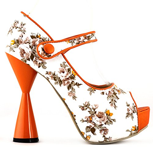 SHOW STORY Orange Floral Pattern Mary Jane Open Toe Party Pumps,LF40811OR41,10US,Orange