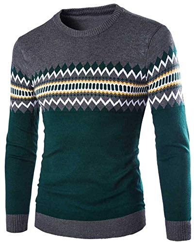 Pull Cou Jacquard Ras Pour Du Longues Rond Grande Taille Hommes Jersey Anyua Manches qOBrnqxC