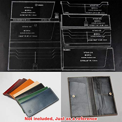 WUTA Leather Craft Template Acrylic Pattern Long Wallet Cutting Model for Beginner DIY Handmade Simple Clutch Long Purse WT845