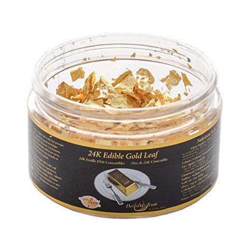 DeiAurum: 24K Edible Gold Leaf Flakes Jar, 0.100grams