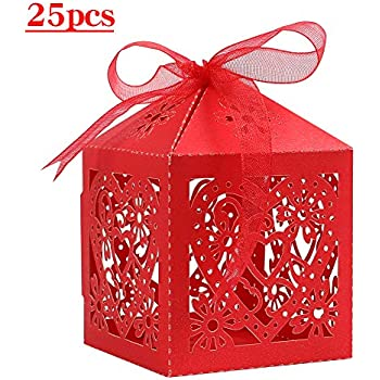 Lucky Monet 25/50/100PCS Love Heart Laser Cut Wedding Candy Gift Box Chocolate Box for Wedding Favor Birthday Party Bridal Shower with Ribbon (25pcs, Red)