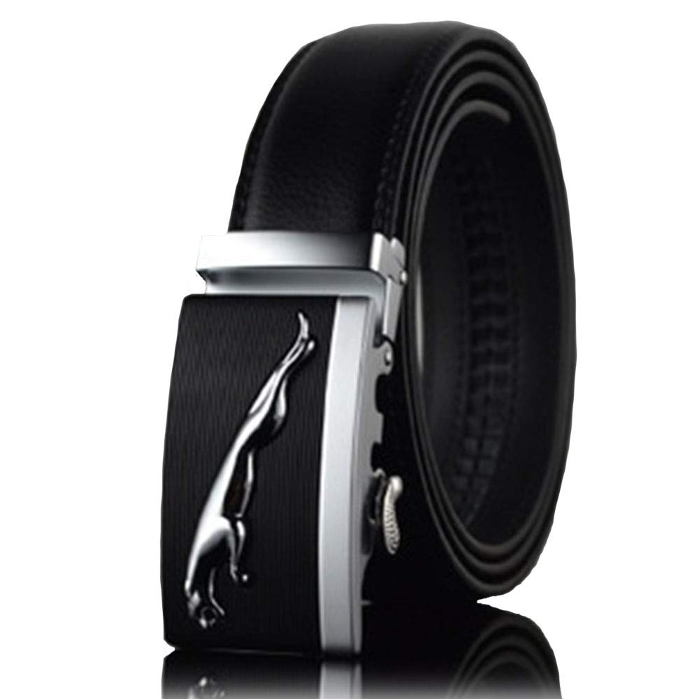 Leopard Head Style Mens Black Business Casual Genuine Leather Belt Automatic Buckle Waist Strap