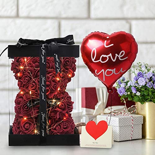 """Flowers Gifts for Women - Rose Bear, Gifts for Women Birthday Gifts Teen Girl Gifts Mom Gifts - 4 in 1 Gift Box Included ,Wine Red,Small ( 10"""" )"""