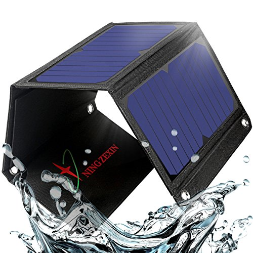 21W Solar Charger with 5V 2-Port USB Phone Charger NINGZEXIN,Waterproof Foldable solar Panel Charger for Iphone X,8,7,6s,iPad,Android,Galaxy and More,Portable for Backpack Camping&Outdoors(red) by NING ZE XIN