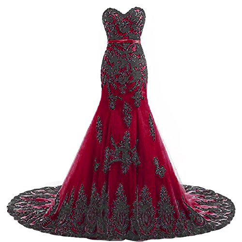YMSHA Women's Black Lace Applique Prom Evening Dresses Gothic Formal Mermaid Wedding Party Gowns with Train Burgundy 04 ()