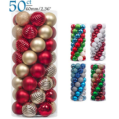 Teresas Collections 50ct 60mm Warmly Red and Gold Shatterproof Christmas Ball Ornaments Decoration,Themed with Tree Skirt(Not Included)