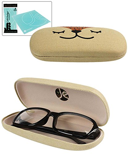 JAVOedge Hard Shell Cute Brown Animal Faced Eyeglass Case and Bonus Free Soft Microfiber Lens Cleaning Cloth