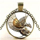 paweena Vintage Steampunk Dragon Photo Cabochon Glass Bronze Pendant Necklace Jewelry