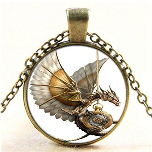 Vintage Steampunk Dragon Photo Cabochon Glass Bronze Pendant ()
