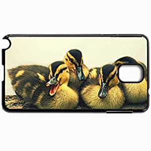 Customized Cellphone Case Back Cover For Samsung Galaxy Note 3, Protective Hardshell Case Personalized Ducks Birds Young Spotty Black