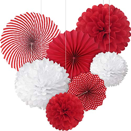 Hanging Paper Fan Set Paper Pom Poms Decorations Tissue Paper Fans Tissue Paper Pom Poms Flower Fan Happy Birthday Sign and for Birthday Baby Shower Wedding Festival Decorations-Red