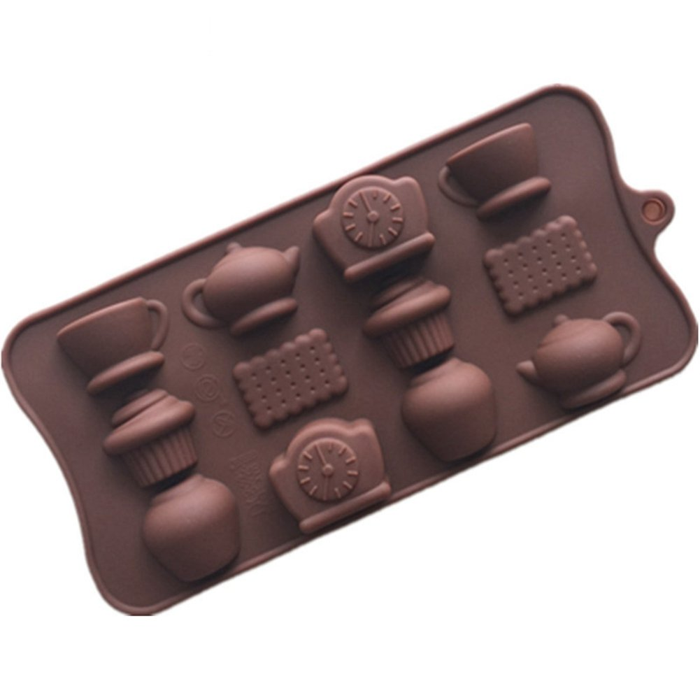 Traditional Chinese Tea Cup Teapot Shape Silicone Mold for Soap Baking Biscuit Chocolate Ice Cube Tray ( Pack of 2 )