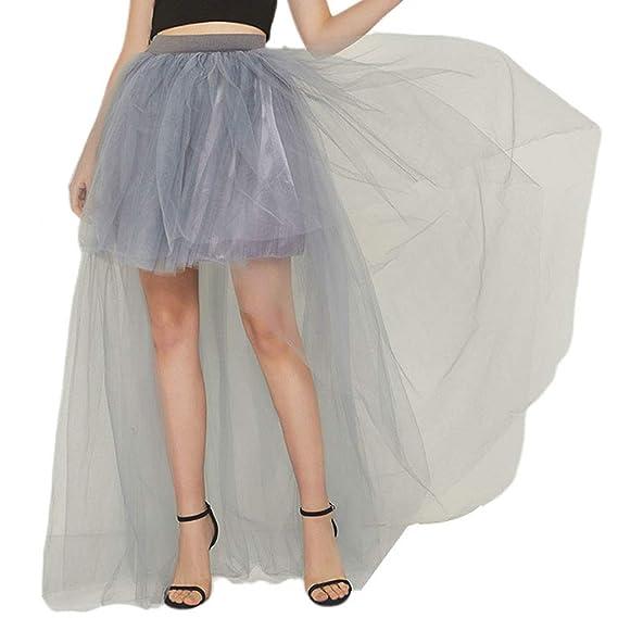 AIYIYOO Falda de tutú Plisada de Cintura Alta para Mujer con Capas ...
