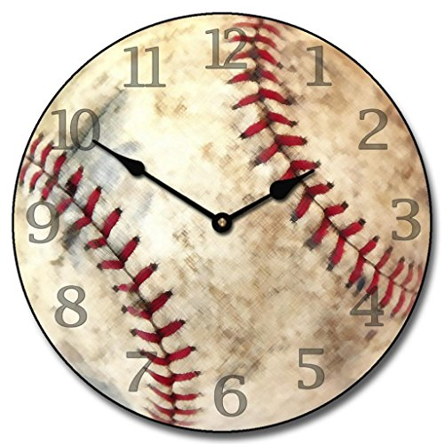- Baseball Wall Clock, Available in 8 sizes, Most Sizes Ship the Next Business Day, Whisper Quiet.