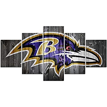 Baltimore Ravens NFL Poster Wall Decor for Home Painting 5 Piece Canvas Prints Wall Art Picture Modern Decoration for Bedroom Poster with Frame Ready to Hang(60''Wx32''H)