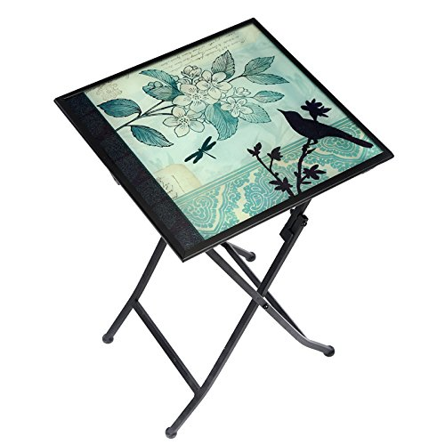 CEDAR HOME Side Table Outdoor Garden Patio Metal Accent Desk with Square Hand Painted Glass, Teal Review