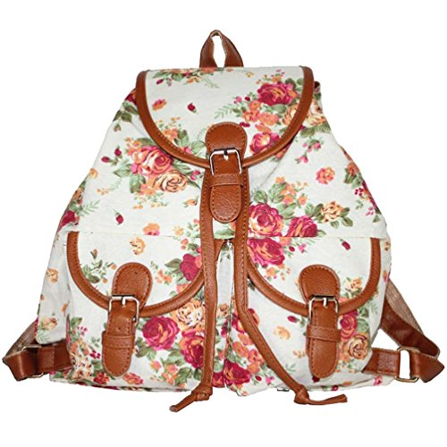 Women's Girl's Bag Bag White Backpack Sweet Vintage Canvas Casual Travel YiLianDa School And wCxZtO4q