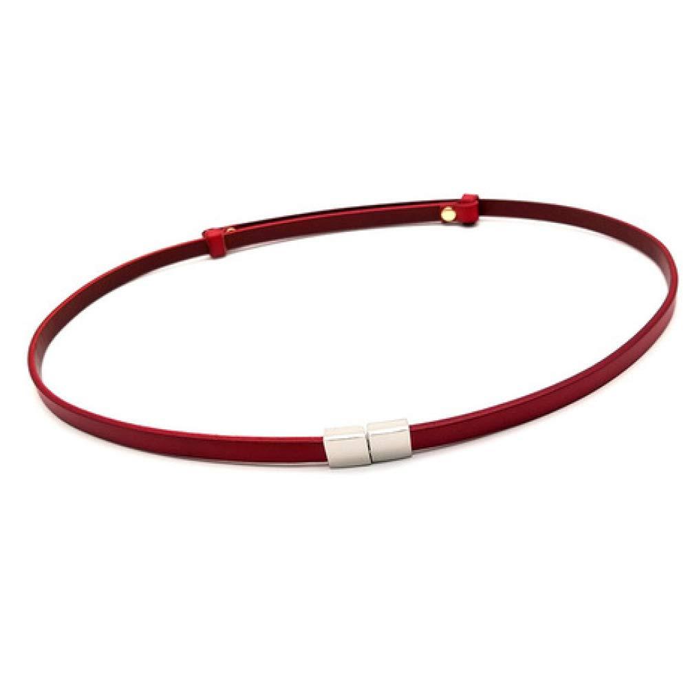 C DENGDAI Fashion Belt with Skirt Decorative Waist Chain Head Layer Leather Small Belt
