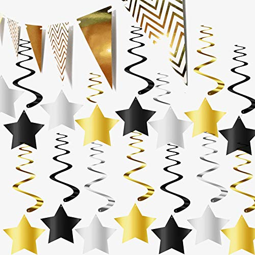 31 Pack Hanging Star Swirls Black and Gold Party Decorations Kit for Graduation New Year Birthday Events Decorations Party Supplies - 1 Gold Triangle Banner -