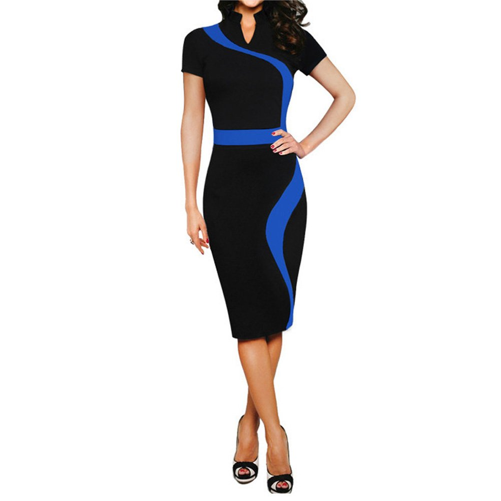 Eiffel Women's Illusion Color Block Contrast Patchwork Work Business Pencil Dress Eiffel Store 4584b
