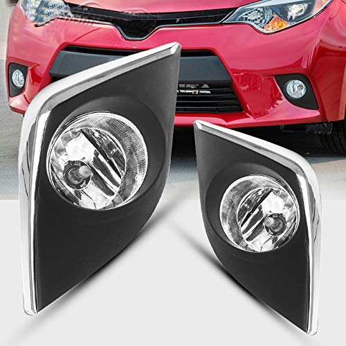 AUTOSAVER88 Fog Lights H16 12V 19W Halogen Lamp For Toyota Corolla 2014 2015 2016 (Not for Corolla S) (Clear Lens Chrome Trim with Bulbs & Wiring ()