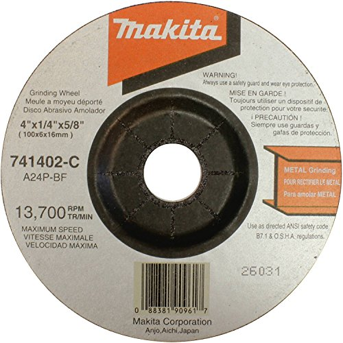 Makita 741402-9AP 4-Inches x 1/4-Inches General Purpose Metal Depressed Center Grinding Wheel - 5 Pack - Purpose Depressed Center Grinding Wheels