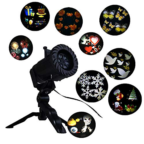 Holiday Celebration Home Decorative Animated Film LED Projector Light, New Year Christmas Halloween Thanksgiving Wedding Birthday Party Outdoor Garden Decoration projection Lamp with 15 Slides (black)