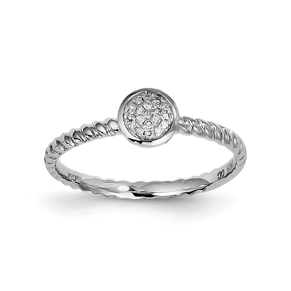 925 Sterling Silver White Diamond Stackable Ring Size 7 ( 0.05 ct )
