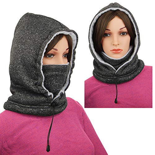RITOPER Ski Mask Balaclava Fleece Hood Cold Weather Face Warmer Snowboarding Cycling Jogging(Black-White)