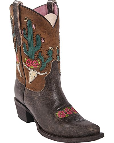 Lane Women's Junk Gypsy by Dark Bramble Rose Western Boot Snip Toe Brown 9 M