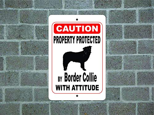 - Dozili Property Protected by Border Collie Guard Dog Warning Yard Fence Breed Metal Aluminum Sign