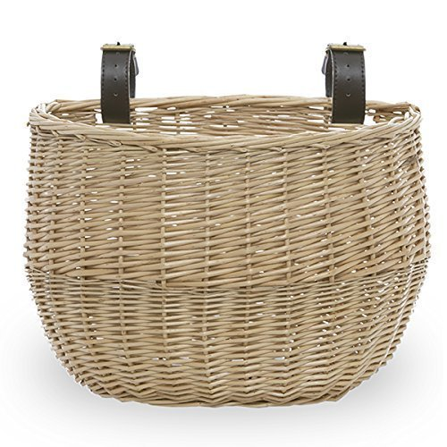 The Lucky Clover Trading Bicycle Bike Basket with Faux Leather Buckles by The Lucky Clover Trading   B00MPWX4G8
