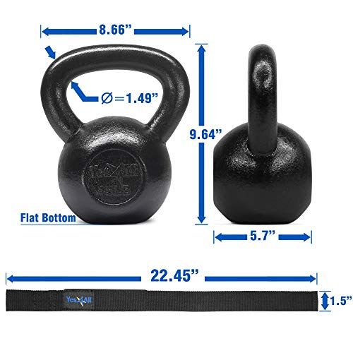 Yes4All Solid Cast Iron Kettlebell Weights Set – Great for Full Body Workout and Strength Training by Yes4All (Image #2)