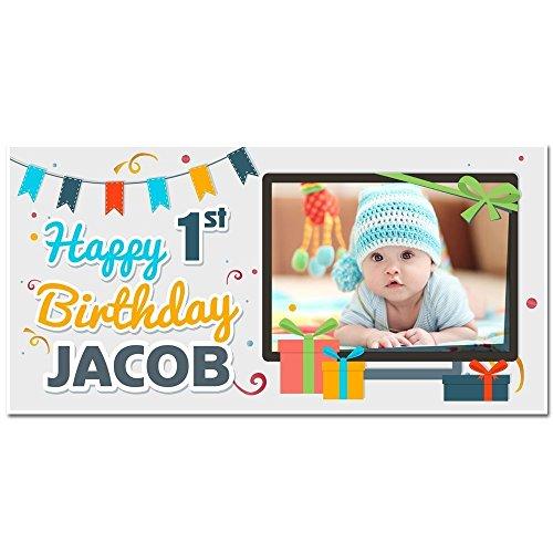 Custom Photo First Birthday Banner Custom Photo Party Decoration ()