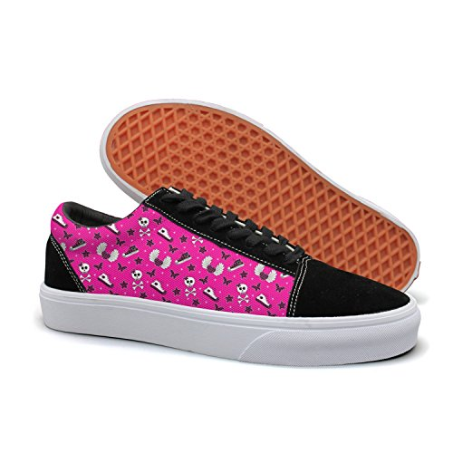 - HMAG Womens' Skate Shoes Jogging Shoes Pink Heart Skulls Lightweight Sneaker For Casual Outfits