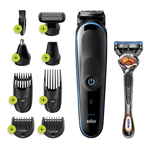Braun 9-in-1 Trimmer MGK5280 Beard Trimmer for Men, Body Grooming Kit & Hair Clipper, Black/Blue