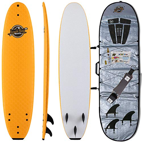 Soft Top Surfboard + Bag Package - Best Foam Surf Board for Beginners, Kids, and Adults - Soft Top Surfboards for Fun & Easy Surfing - 7' Ruccus, 8' Verve & 8'8 Heritage Surfboards All Wax-Free (Best Size Surfboard For Beginners)