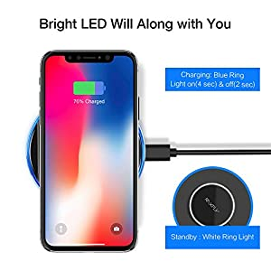 QI Wireless Charger Mat,Raxfly Mini Protable Standard QI Wirless Charging Pad for iPhone X / 8 / 8 Plus Fast Wireless Charge for Samsung Galaxy S8 / S8 Plus / S7 / Note 8 (Adapter No Included)