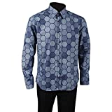 Allten Men's Blue Cotton Casual Halloween Shirt