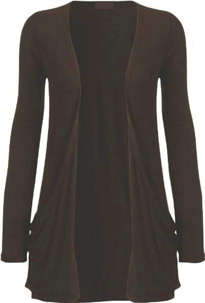 Womens Ladies Basic Open Boyfriend Long Sleeve Two Pocket Cardigan Top UK 8-26
