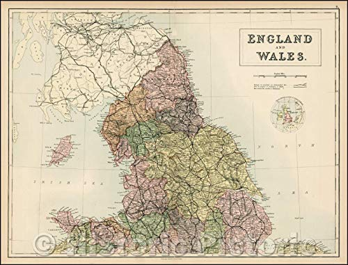 Historic Map | England and Wales [northern part], 1869, Adam & Charles Black | Vintage Wall Art 58in x 44in
