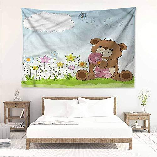 Sunnyhome Wall Tapestry,Kids Cartoon Teddy Bear and Toy,Stylish Minimalist Fresh ()