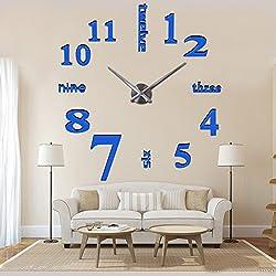 Mirror Surface Decorative Clock 3D DIY Wall Clock Living Room Bedroom Office Hotel Wall Decoration (Blue)